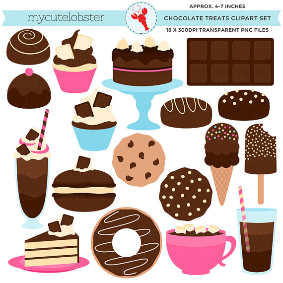 Chocolate Treats Clipart Set.