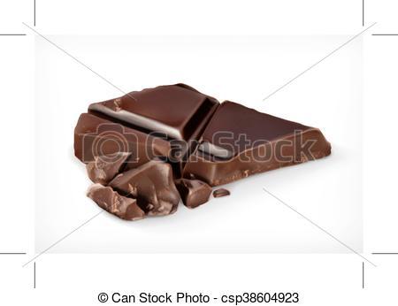 Vector Illustration of Dark chocolate pieces vector icon.