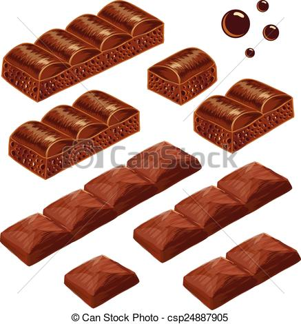 Vector Clipart of Porous and milk chocolate pieces. vector.