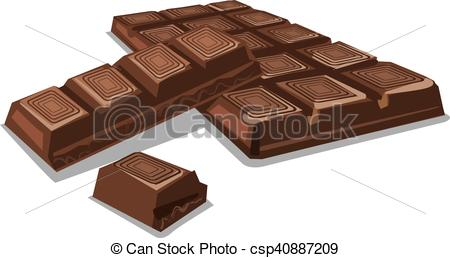 Vector Clipart of dark chocolate pieces.