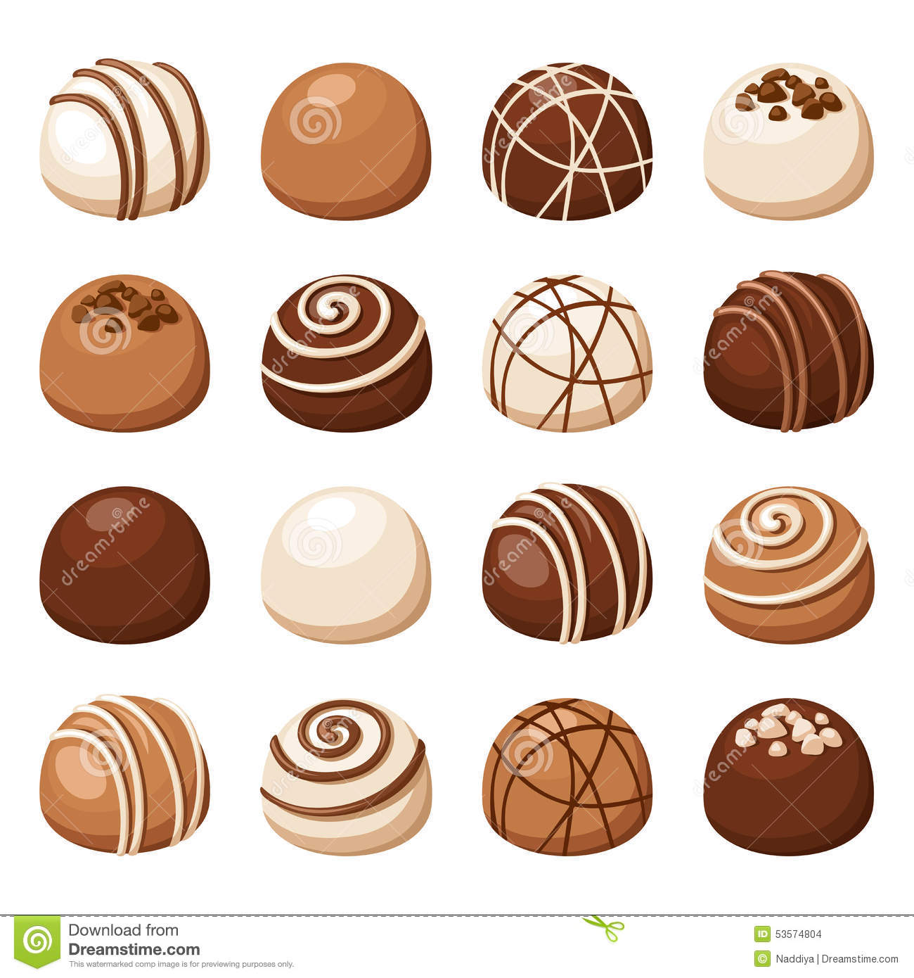 Set Of Chocolate Candies. Vector Illustration. Stock Vector.