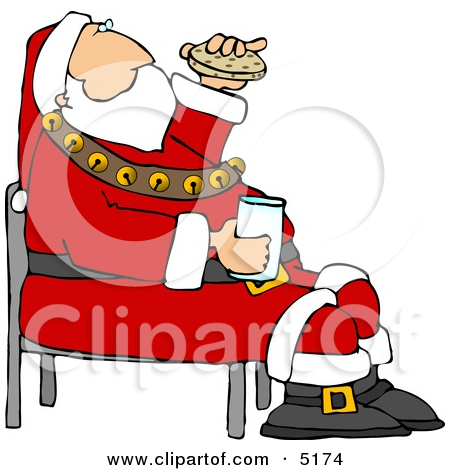 Santa Eating Cookies Clipart.