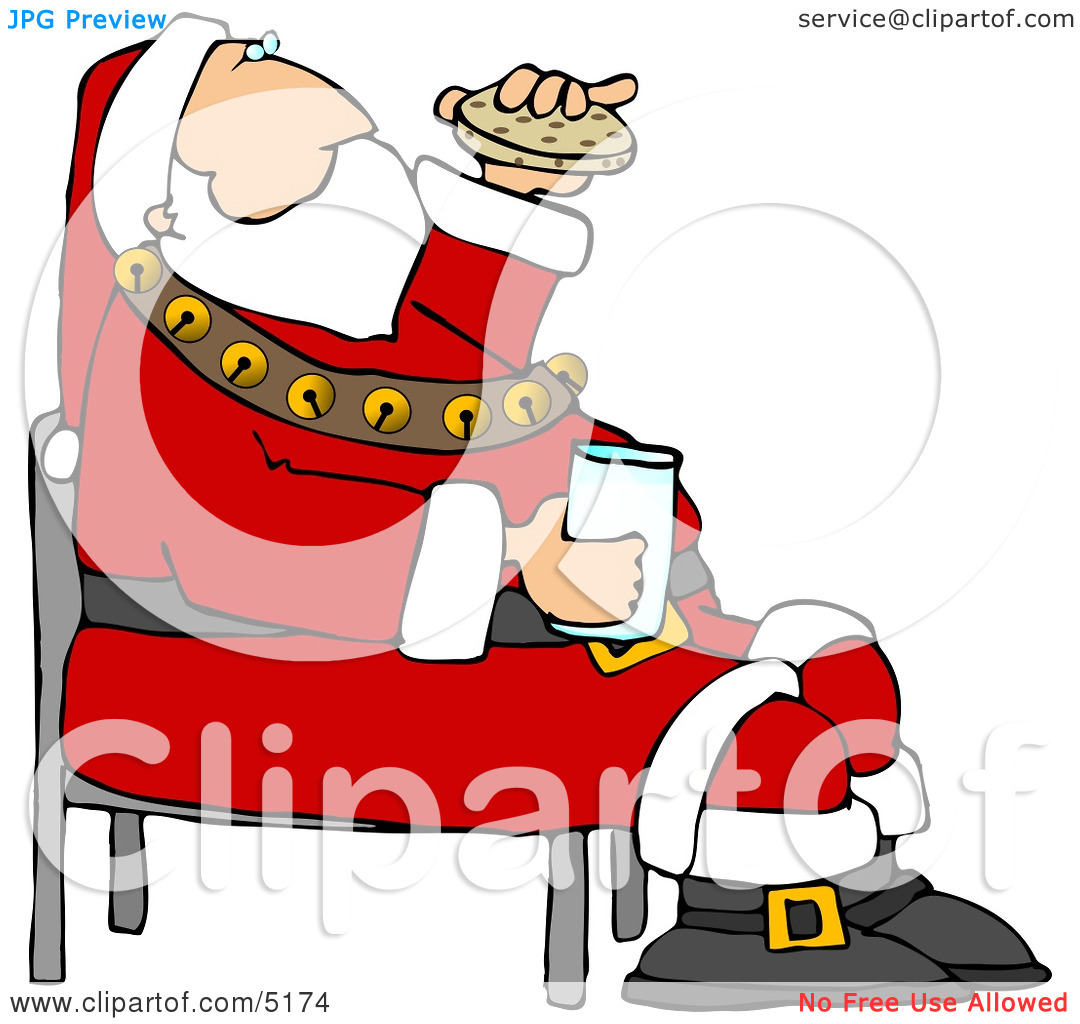 Santa Eating Chocolate Chip Cookies and Drinking Milk Clipart by.