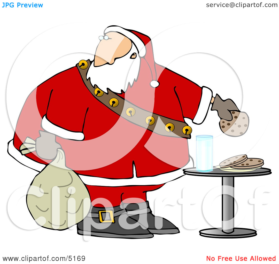 Santa Grabbing Chocolate Chip Cookie While Delivering Christmas.