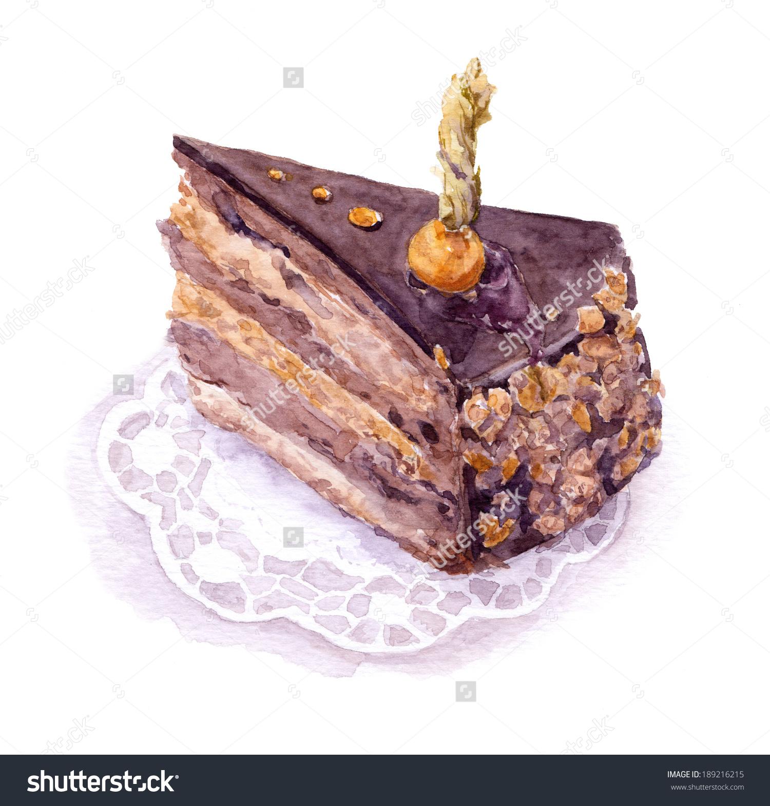 Chocolatepraline Layered Cake Groundcherry Berry Watercolor Stock.