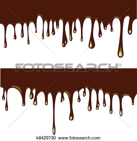 Clipart of Chocolate syrup drip pattern isolated on a white.