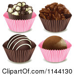 Clipart of a Valentine Chocolate Truffle with Hearts and Sprinkles.