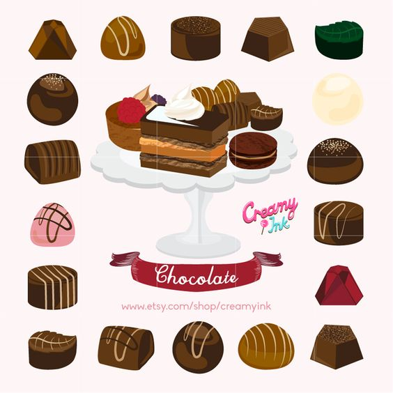 Chocolate & Cake Digital Vector Clip art / Chocolate Truffle.