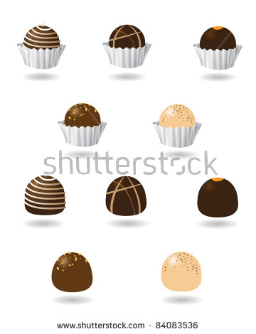 Chocolate Truffle Icons Collection Different Dark Stock Vector.