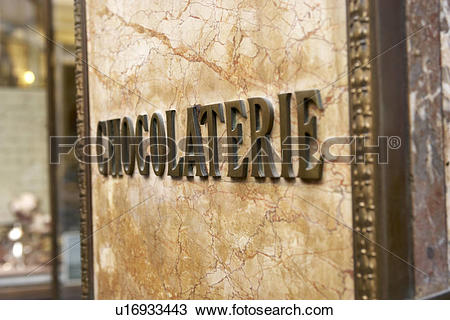 Stock Photo of Sign Outside Chocolaterie In Brussels u16933443.