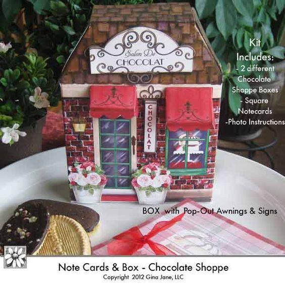 DAISIE COMPANY: Printable Stationery Gift Set, Chocolate Shop Box.