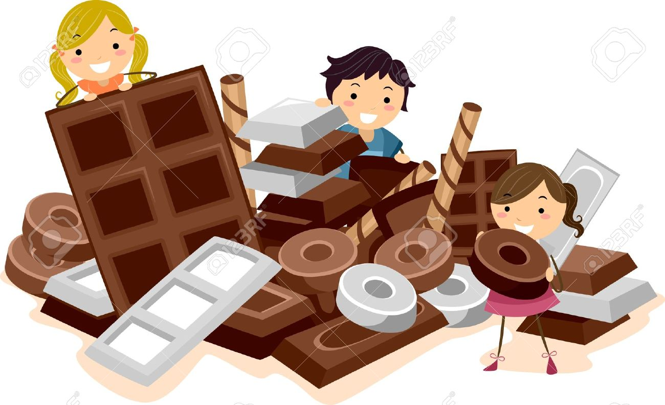 Illustration Of Kids Surrounded By Chocolates Stock Photo, Picture.
