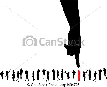 Vectors Illustration of finger pointing at the chosen woman for.