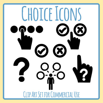 Choices or Choosing or Picking Icons Clip Art Set for Commercial Use.