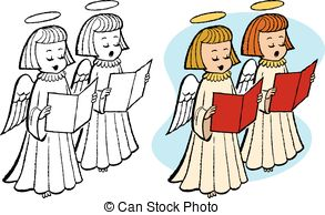 Christmas Angels Singing Clipart.