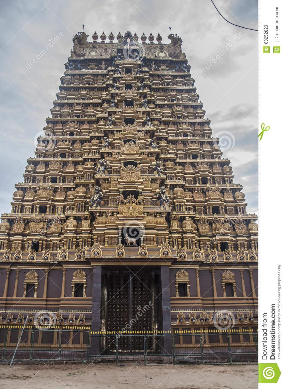 Beautiful Hindu Temple Gopuram Stock Photo.