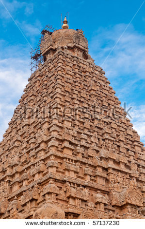Ancient Chola Architecture. World Heritage Place Stock Photo.