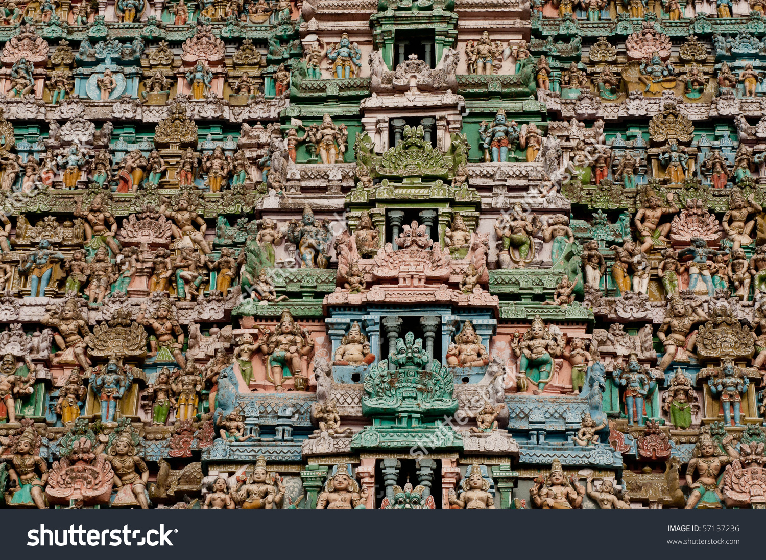 Close Up Details Of The Famous Chola Architecture Stock Photo.
