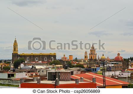 Stock Image of Convent of San Gabriel Church, Cholula, Mexico.
