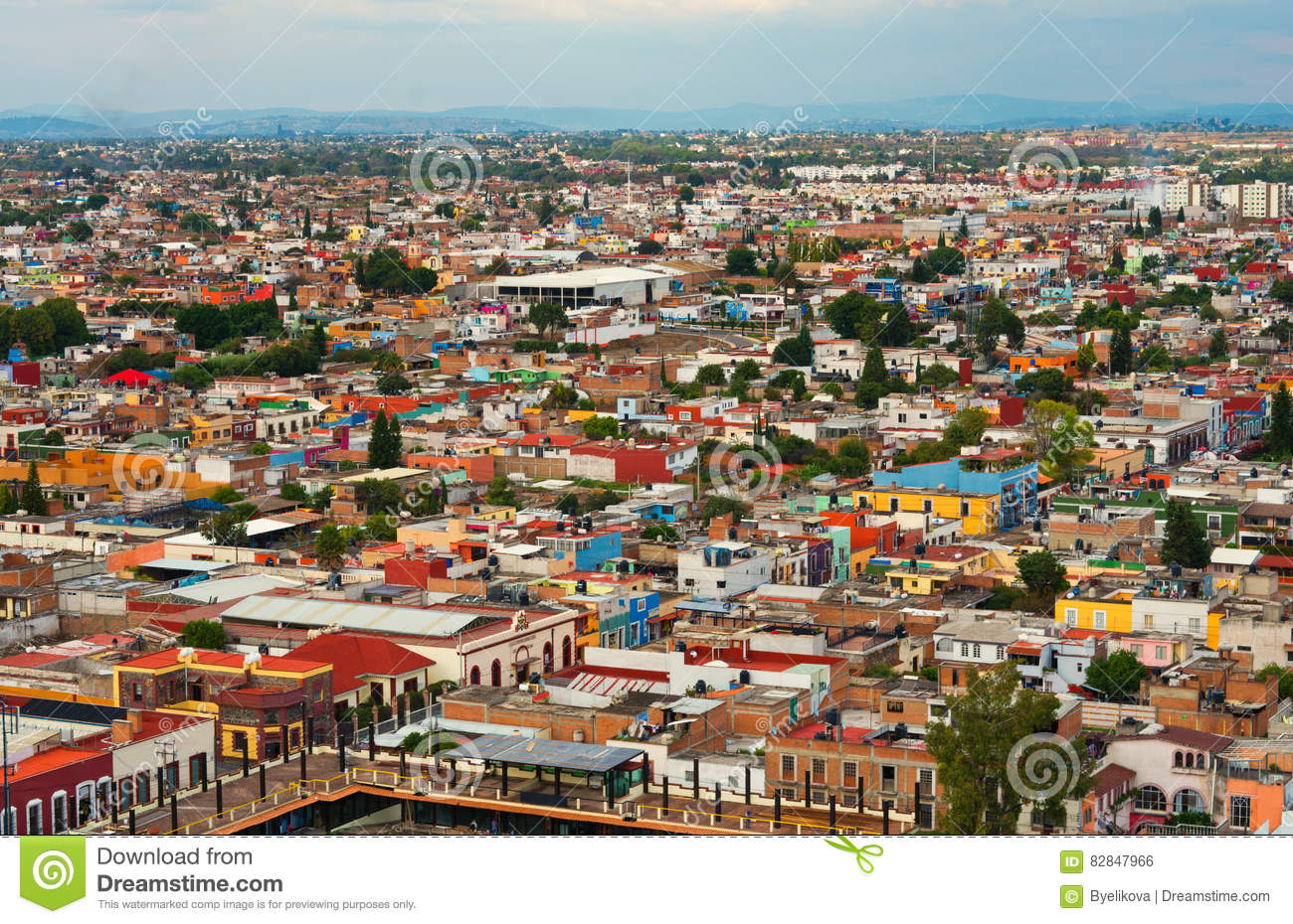 Aerial View Of Cholula In Puebla, Mexico Stock Photo.