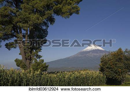 """Stock Photo of """"Popocatepetl volcano near the city of Cholula."""