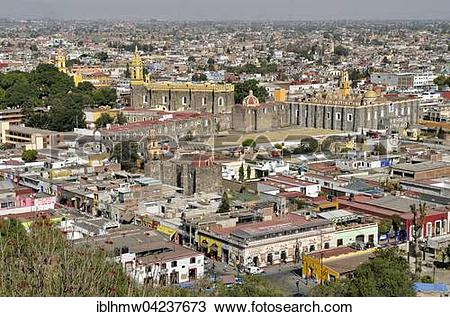 Stock Photo of View of the historical centre of Cholula with San.