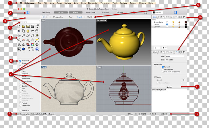 Rhinoceros 3D Window 3D modeling Graphical user interface.
