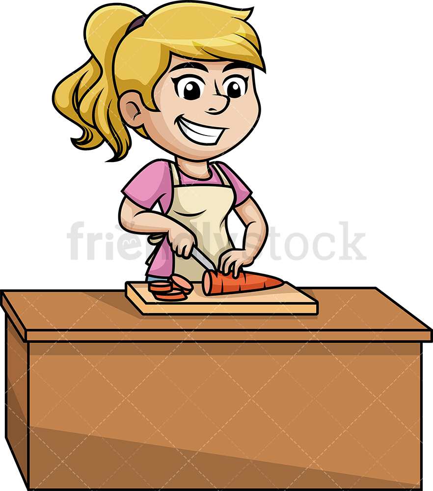 Woman Chopping Vegetables.