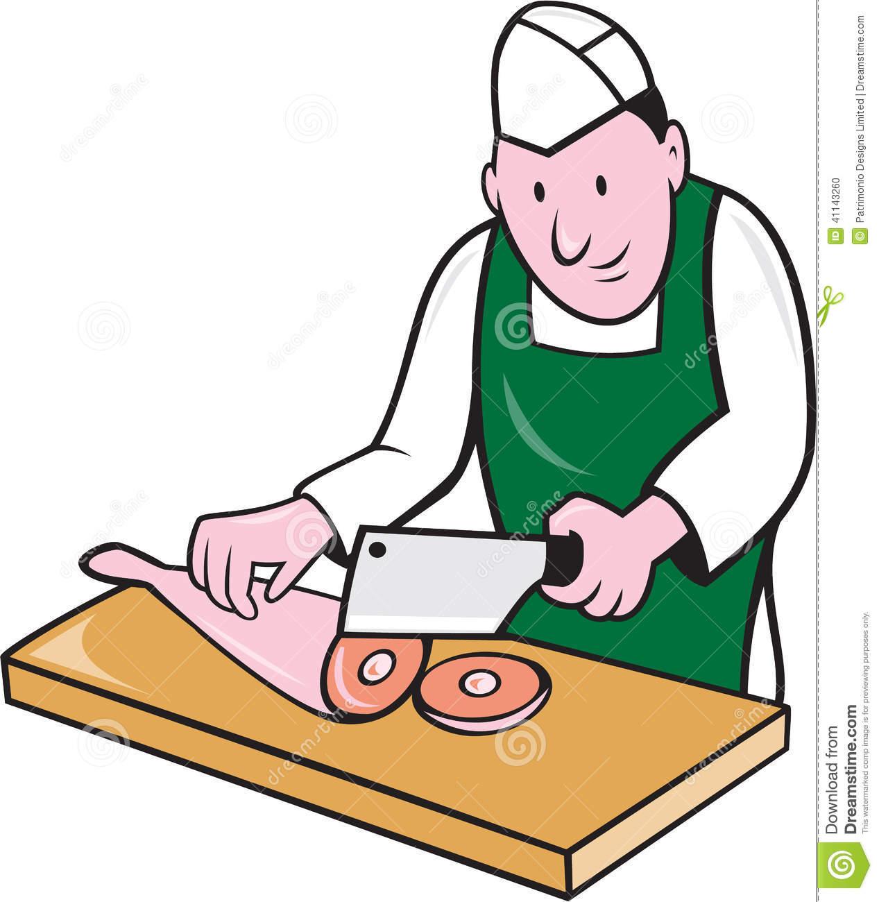 Butcher Chopping Meat Cartoon Stock Vector.