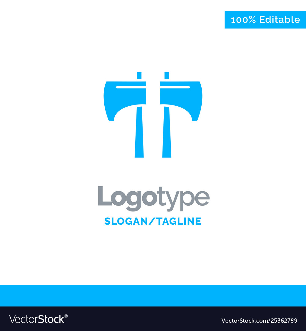 Axe chop lumberjack tool blue business logo.