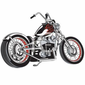 Clipart Picture of a Chopper Style Motorcycle.