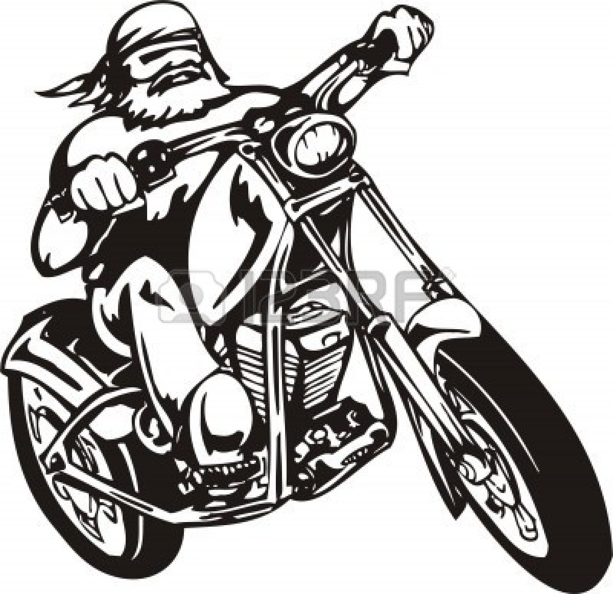Motorcycle Chopper Clipart.