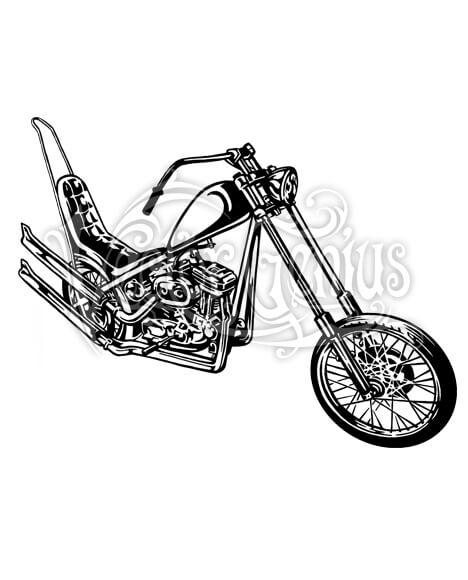 Custom Chopper Motorcycle ClipArt.