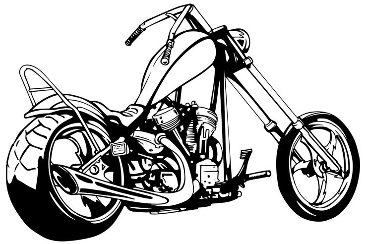 Motorcycle chopper clip art.