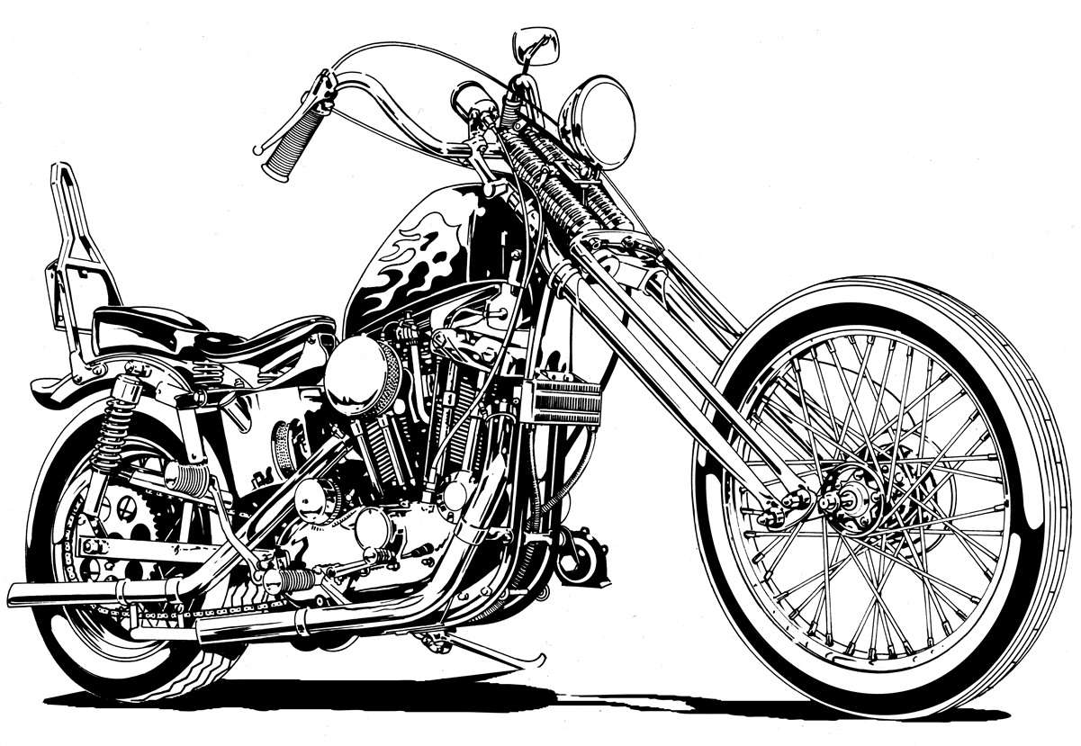 harley sportster chopper motorcycle clipart, buy two images, get.