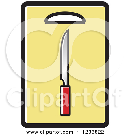 Clipart of a Knife on a Yellow Cutting Board.