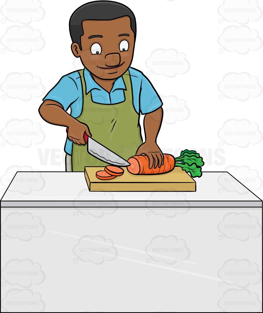 A Black Man Chopping Carrots Cartoon Clipart.