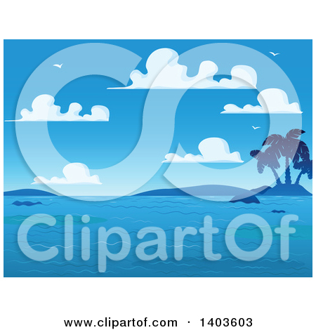 Clipart Small Tropical Island With Coconut Palm Trees And Choppy.