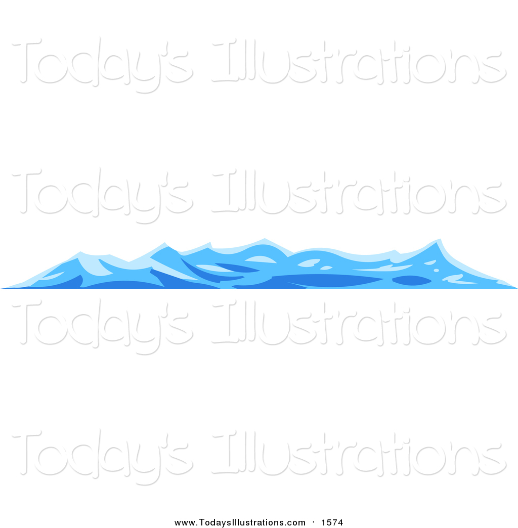 Clipart of Choppy Blue Waves on the Surface of the Sea by Tonis.