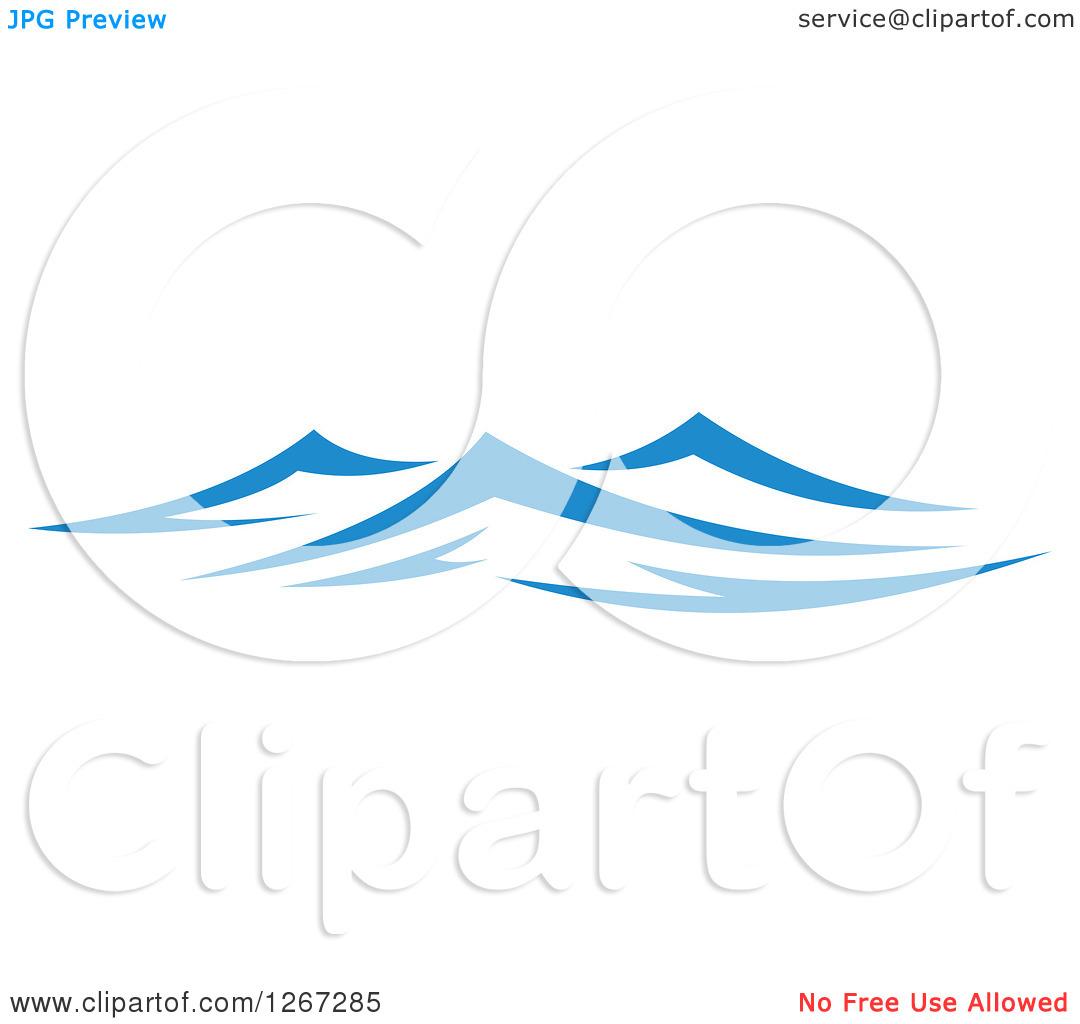 Clipart of Blue Choppy Ocean Waves.