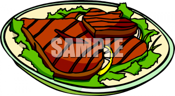 Clipart Picture of Pork Chops on a Plate.