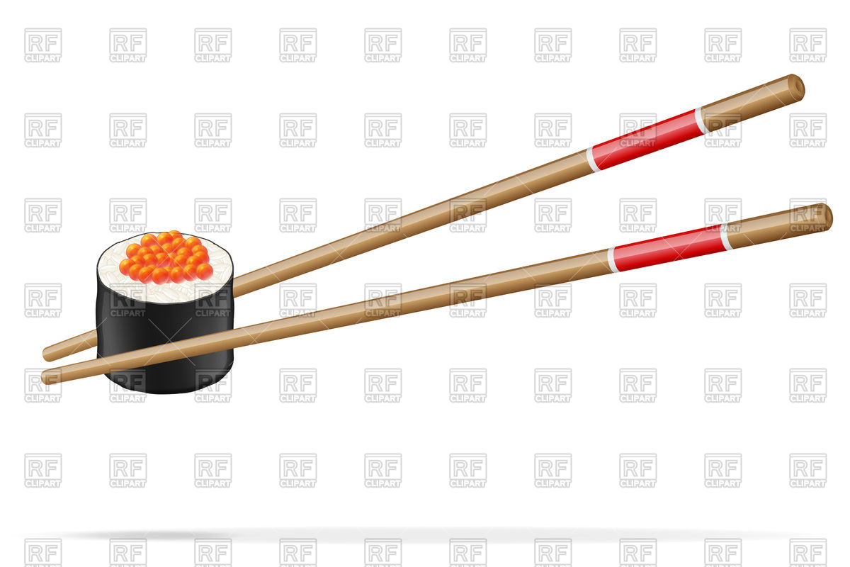 Sushi with chopsticks Vector Image #88738.