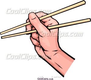 Hands with chopsticks Vector Clip art.
