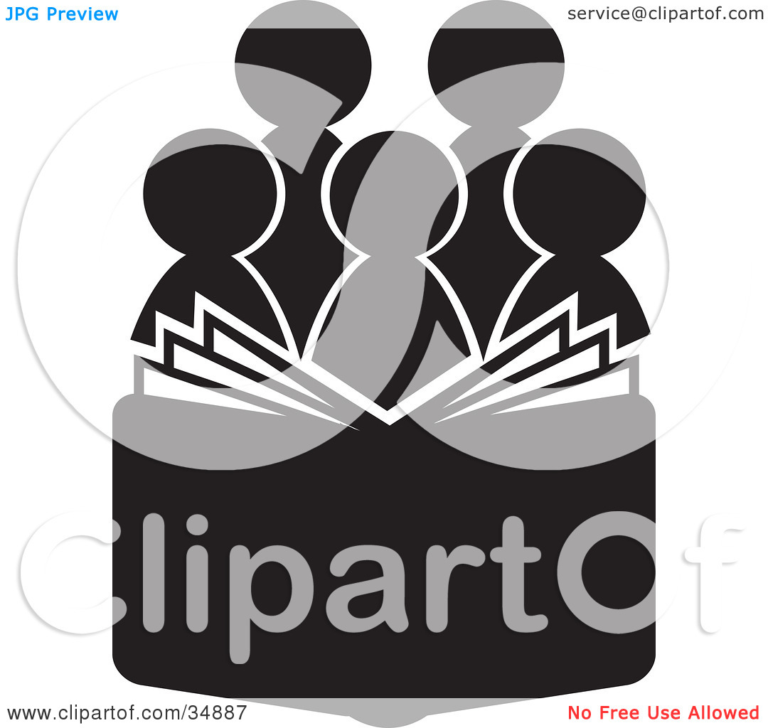 Clipart Illustration of a Group Of Silhouetted Choir Or Church.
