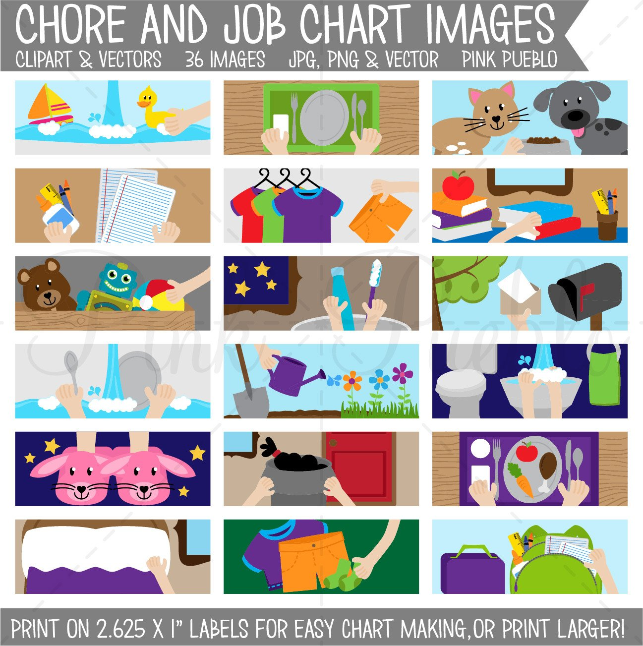 Chore Chart Clipart, Printable Chore Chart for Kids.