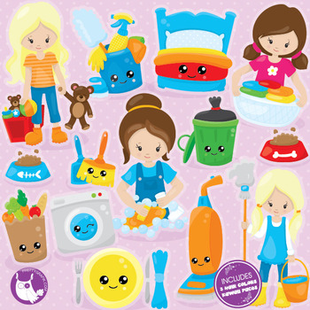 Chore girls clipart commercial use, vector graphics, digital.