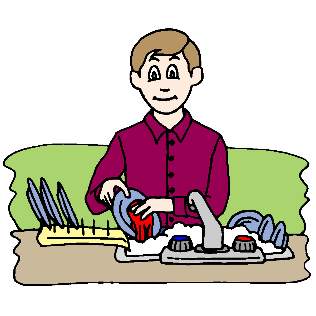 Kids doing chores clipart.