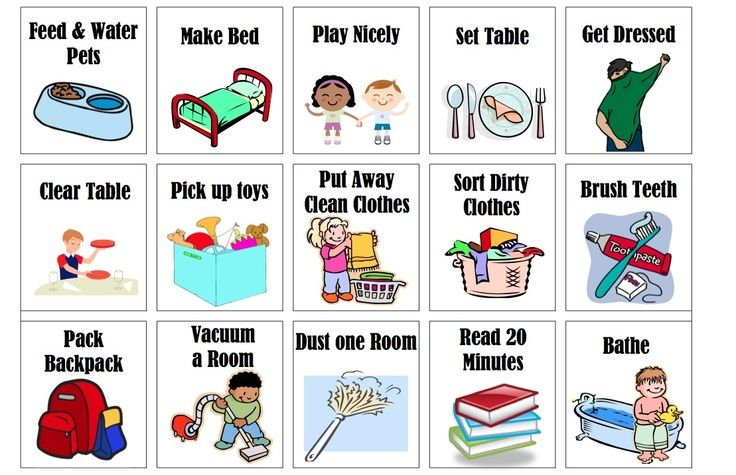 Toddler chores clipart.