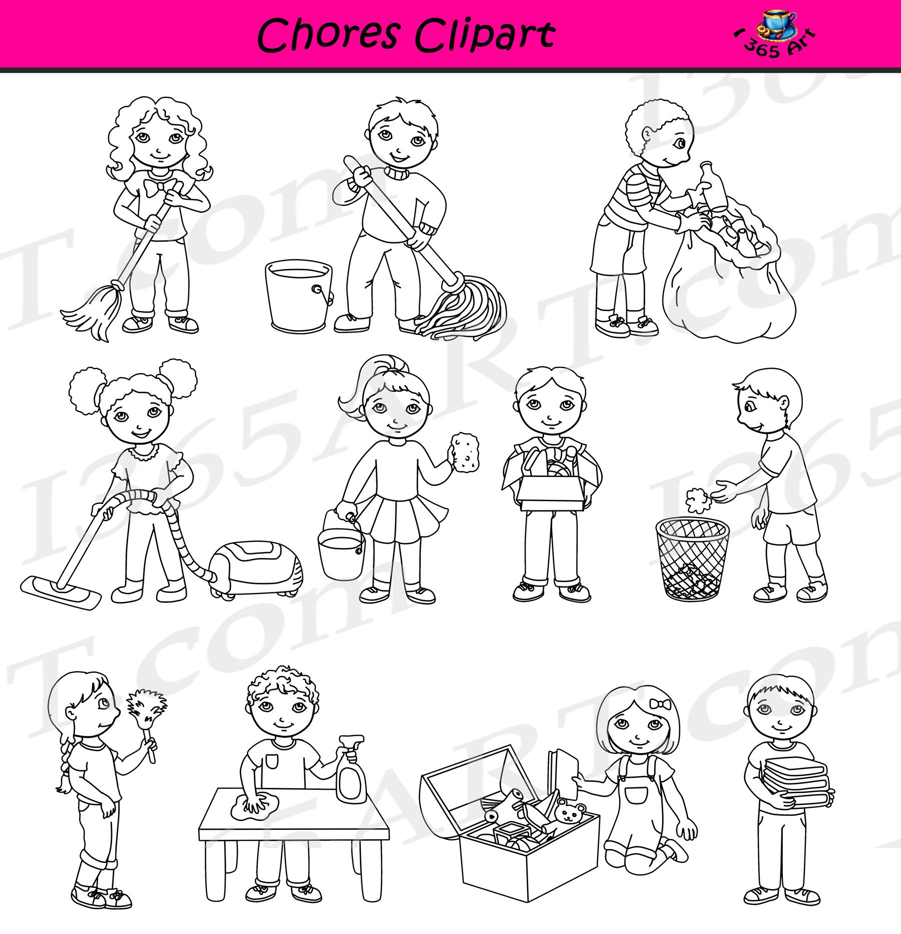 Classroom Chores Clipart.
