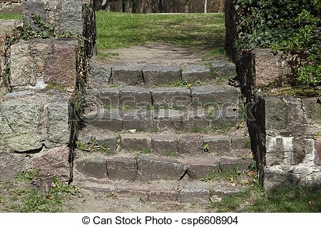 Stock Photo of Steps of old stone stairs in Chorin.